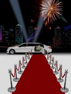 limousine blanche, tapis rouge et feux d'artifice